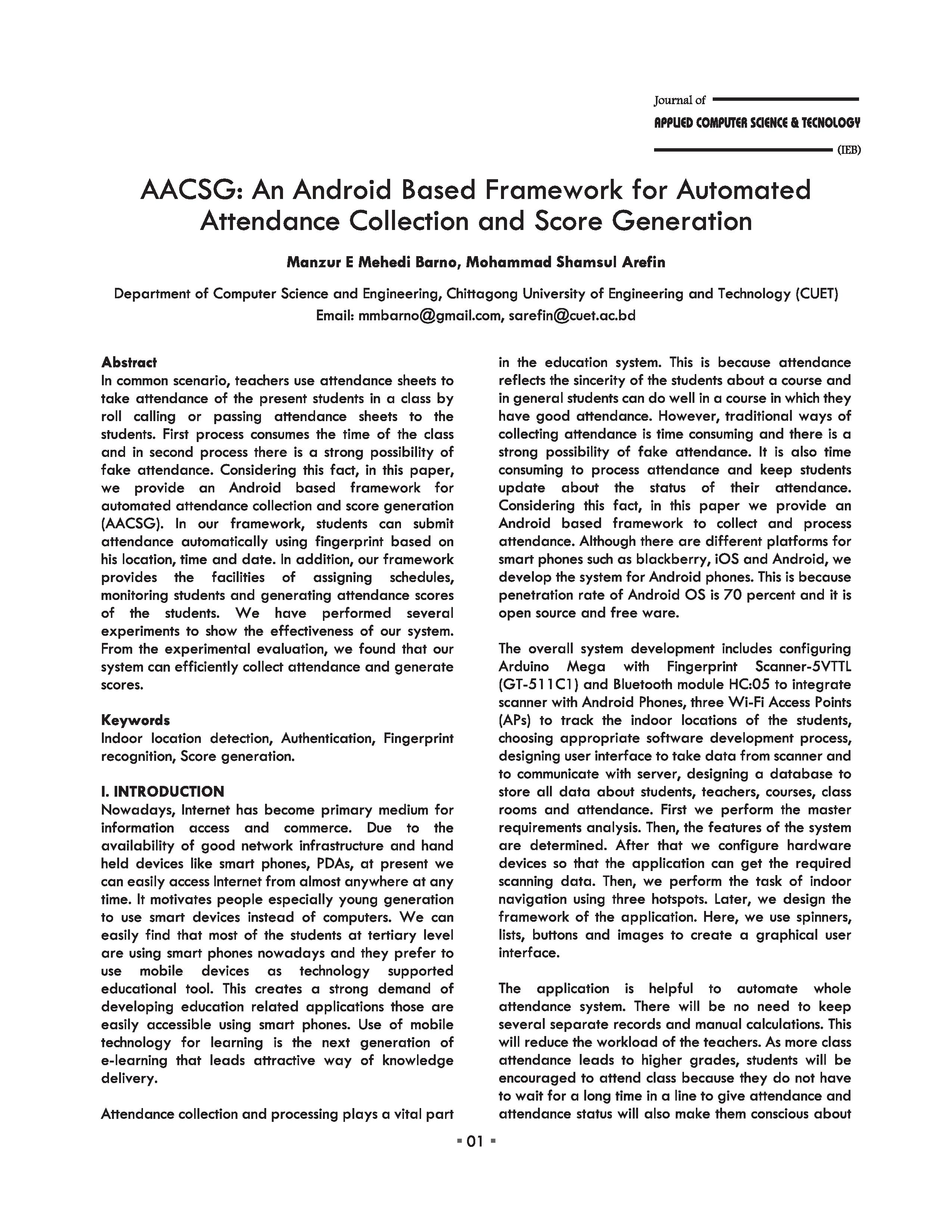 AACSG: An Android Based Framework for Automated