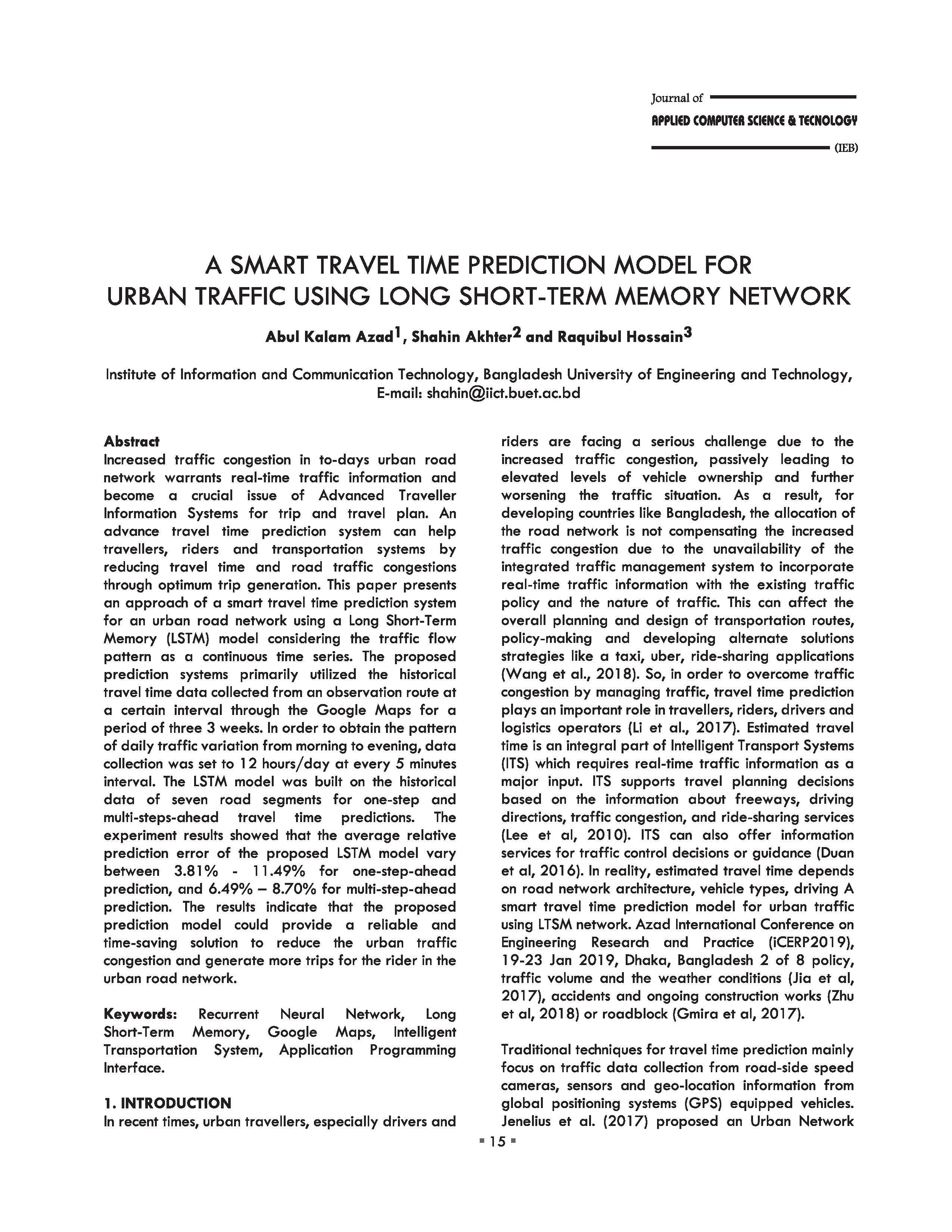 A SMART TRAVEL TIME PREDICTION MODEL FOR URBAN TRAFFIC USING LONG SHORT-TERM MEMORY NETWORK