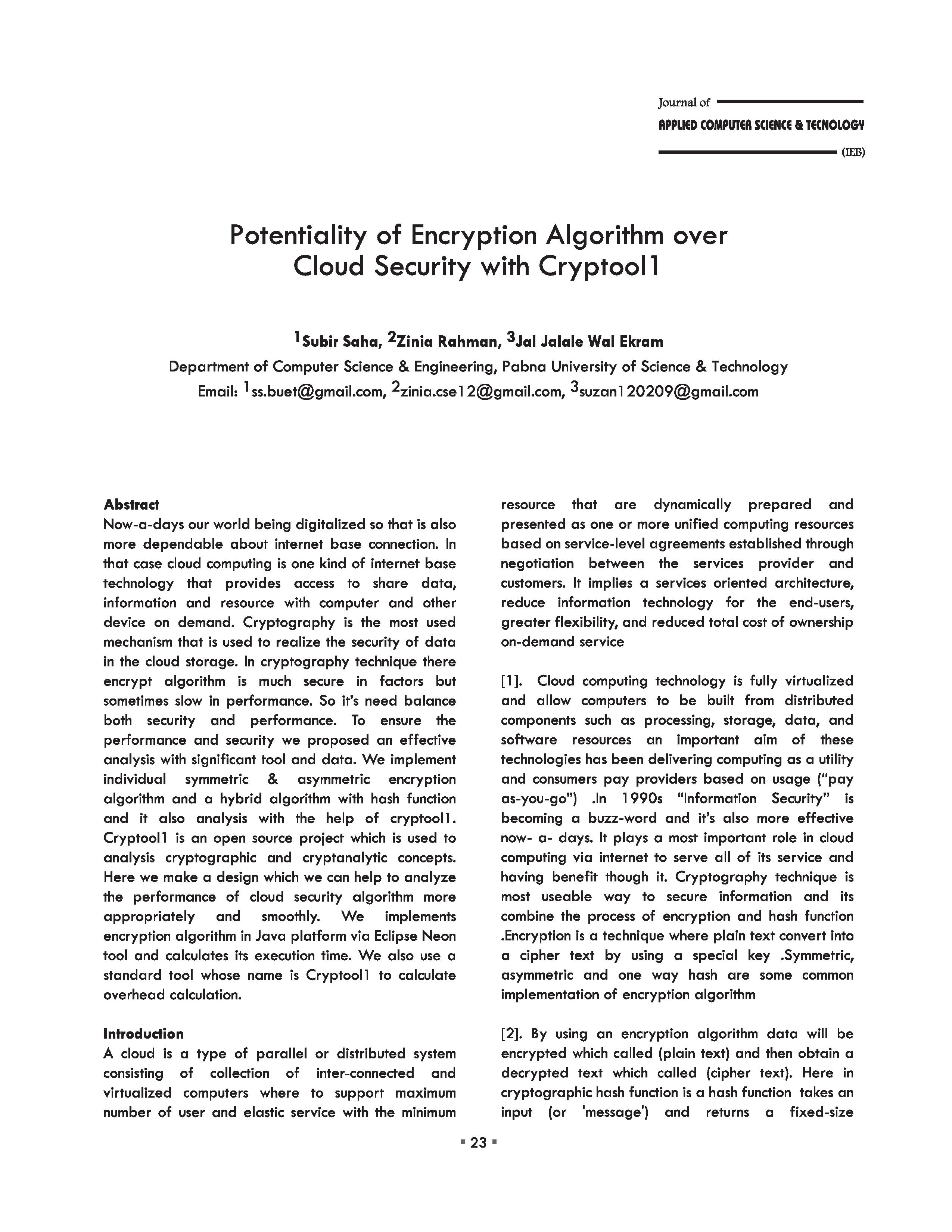 Potentiality of Encryption Algorithm over Cloud Security with Cryptool1